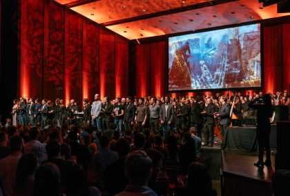 Composers of the concert of the Montreal Video Game Symphony, by the Orchestre Métropolitain and conductor Dina Gilbert, on Sept. 29th, 2017, at the Wilfrid Pelletier hall. Photo by François Goupil